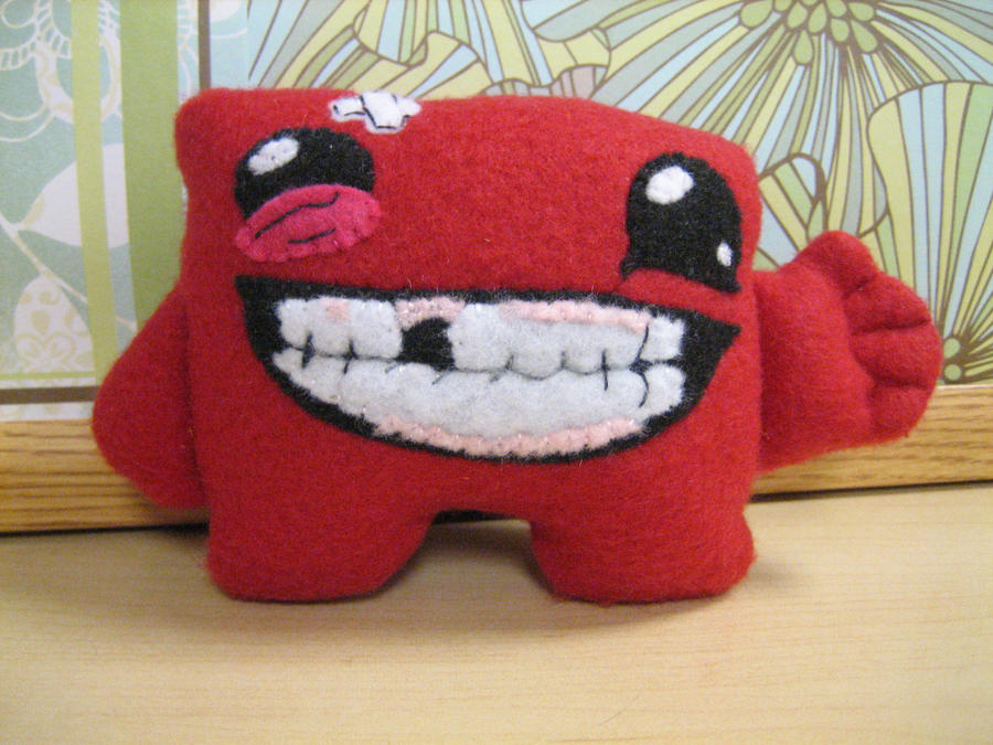 Super Meat Boy Plush by MelloReflections