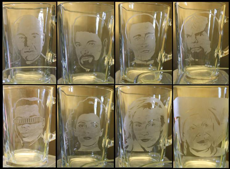 Etched Star Trek TNG Glass Set