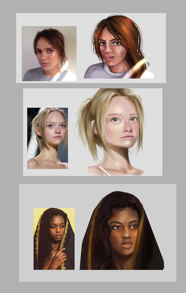 Three portraits by Maripon