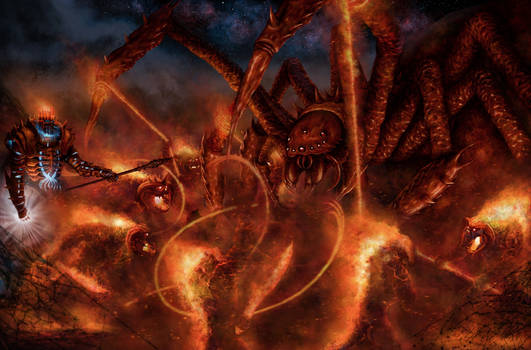 Balrogs Defending Morgoth From Ungoliant