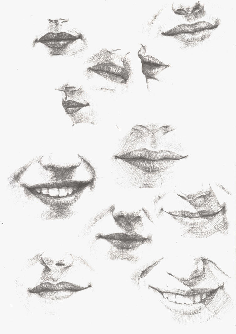 sketch of lips by melissa-way on DeviantArt Pencil Drawings Of Lips Smiling