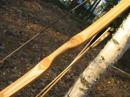 Birch flatbow handle detail