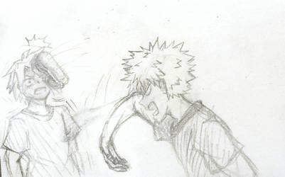 Bakugo Throws a Shoe At Kaminari by anime-luvrHES