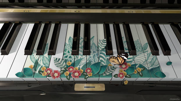 piano with flowers
