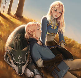 Zelda and Link by mairren