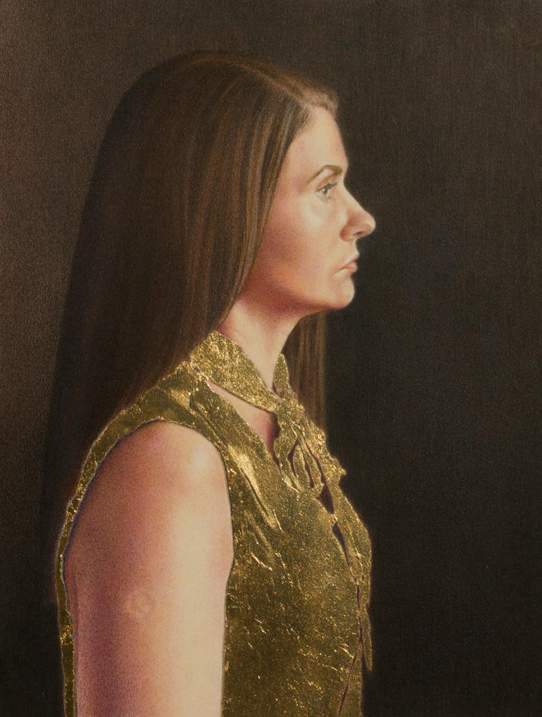 Self Portrait in a Golden Blouse by facesincolor