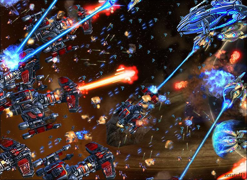Epic Space Battle Wallpaper Starcraft 2 Epic Space Battle
