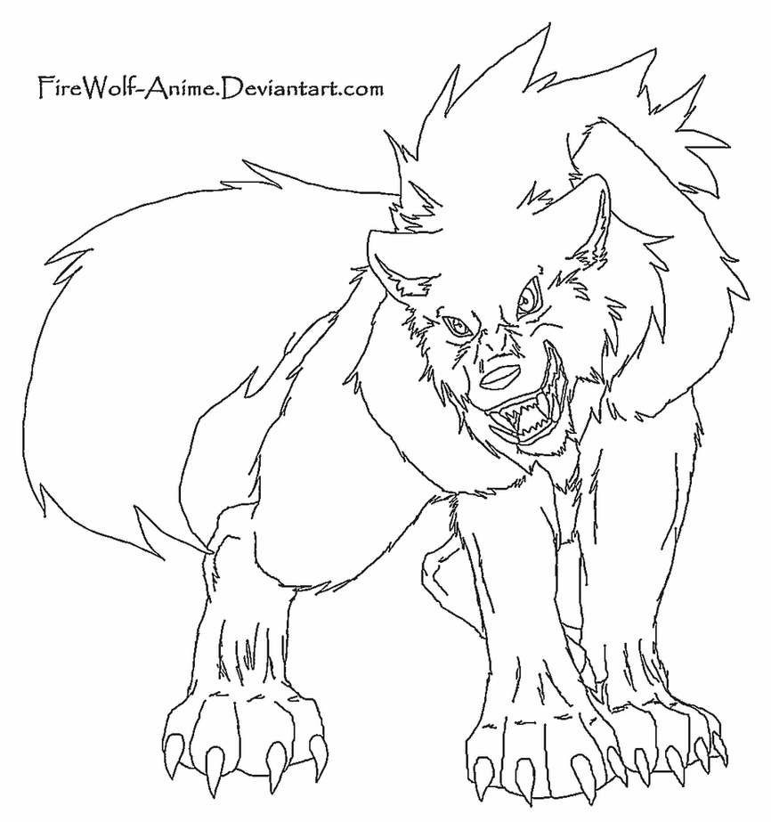 wolf lineart by firewolf anime - Anime Wolf Couples Coloring Pages