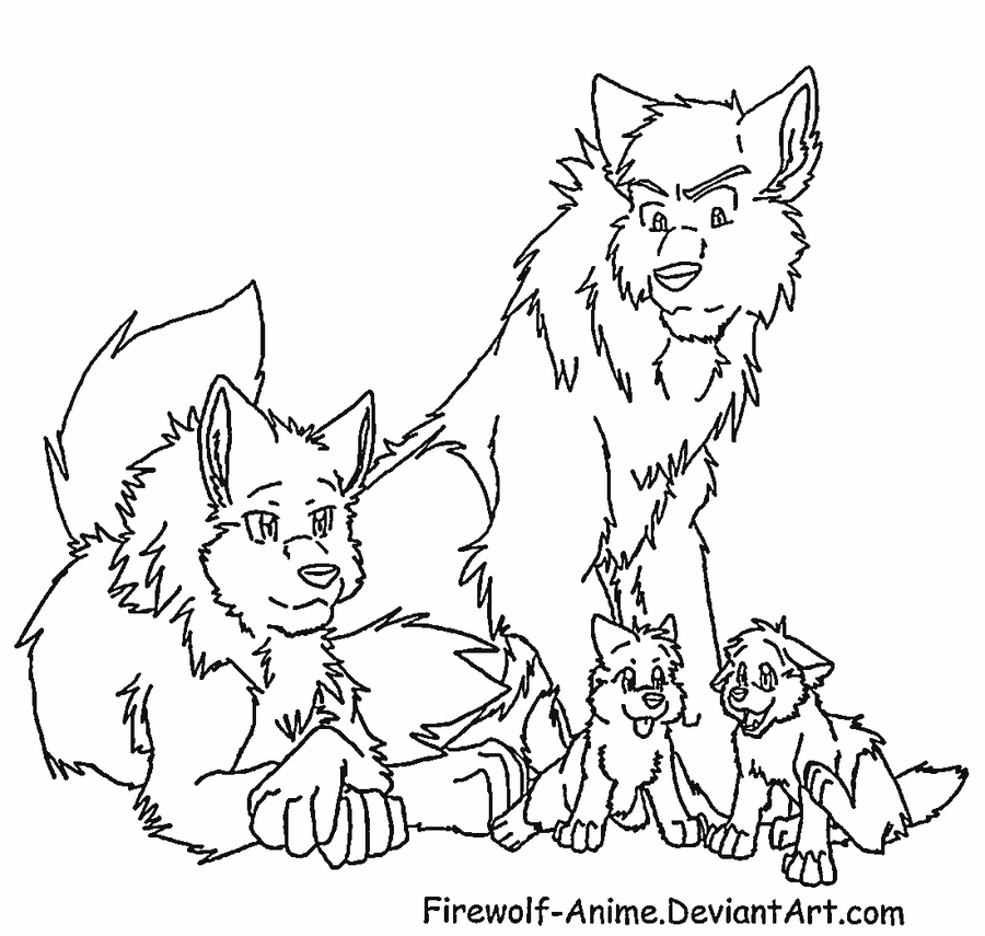 Wolf Family Lineart by FirewolfAnime