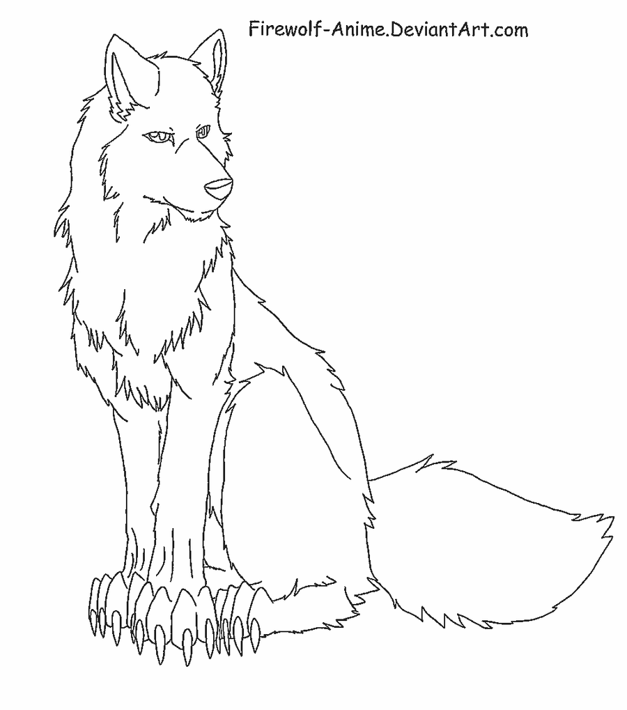 Simple Wolf Lineart : Sitting wolf lineart by firewolf anime on deviantart