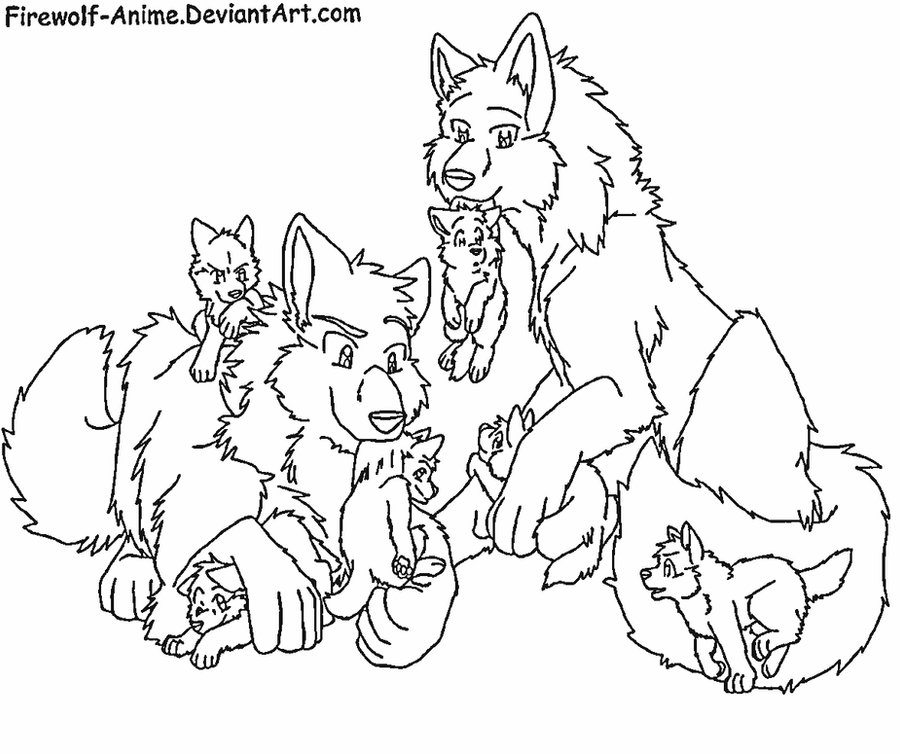 request wolf pack by firewolf anime - Anime Wolf Couples Coloring Pages