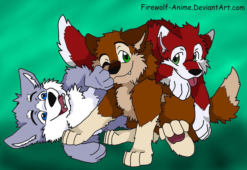 Three Wolf Pups by FirewolfAnime