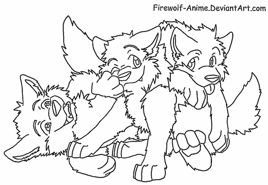 wolf pup cartoon coloring pages | Three Wolf Pups Lineart by Firewolf-Anime on DeviantArt