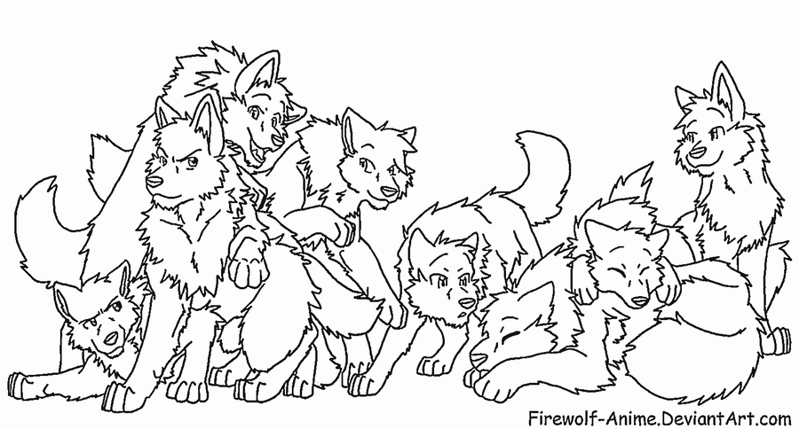 request wolf pack 2 by firewolf anime - Anime Wolf Couples Coloring Pages