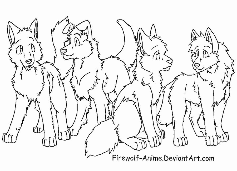 Four Friends Lineart by Firewolf-Anime on DeviantArt