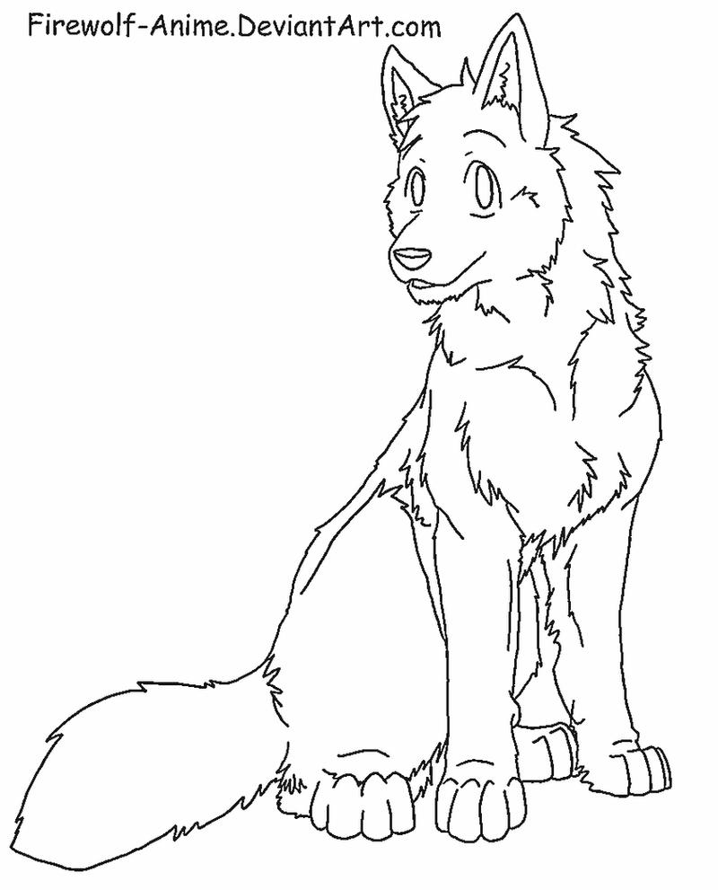 Wolf Sit Lineart by Firewolf-Anime on DeviantArt