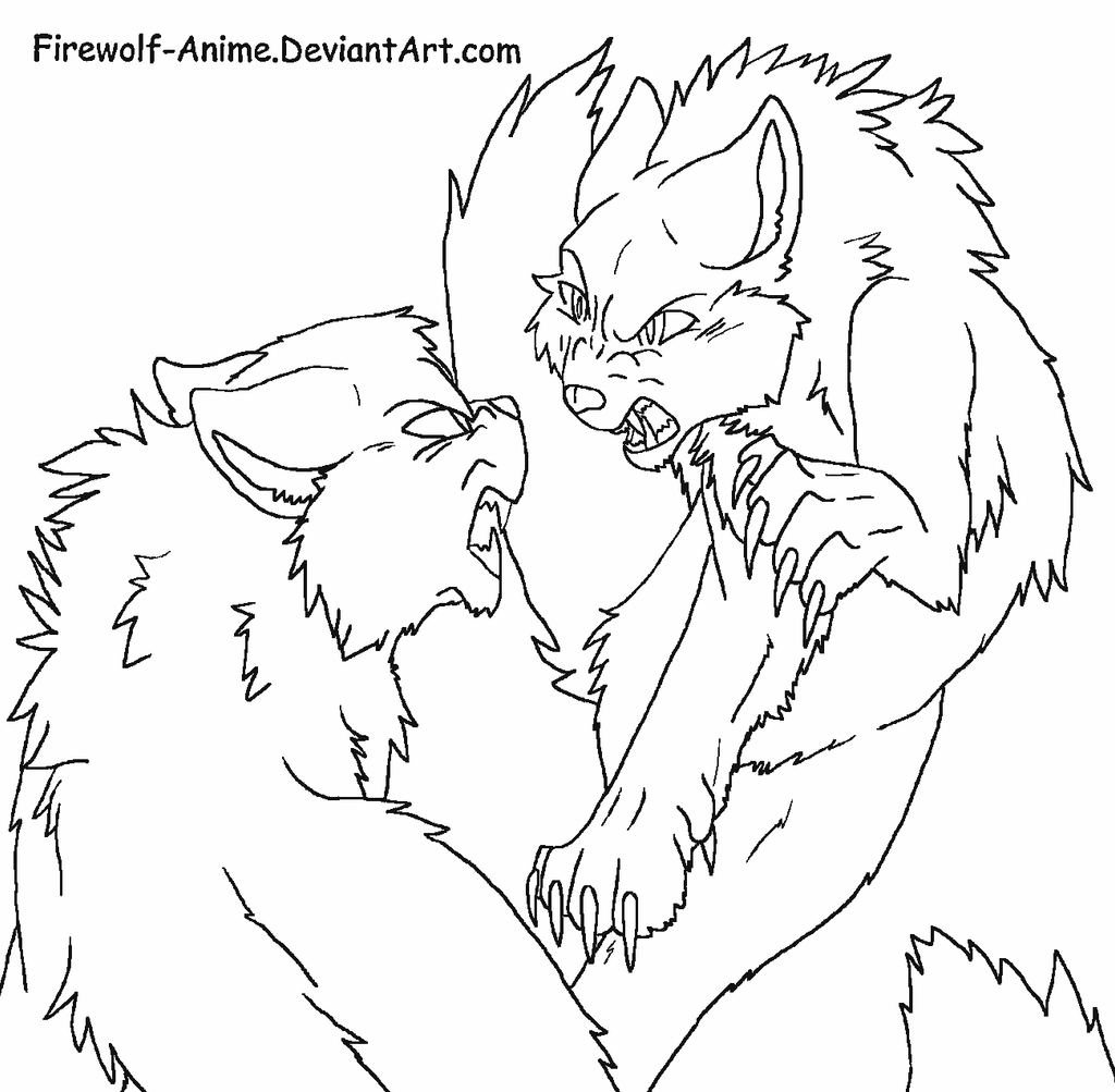Simple Cat Lineart : Art trade cat fight line by firewolf anime on deviantart