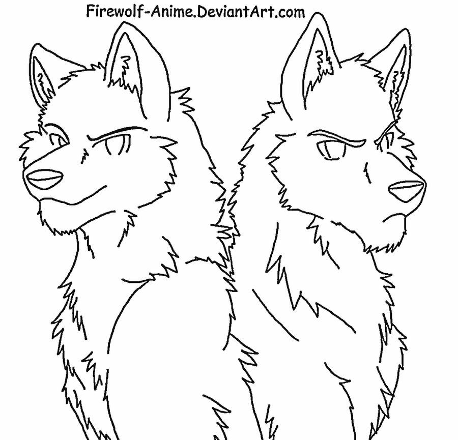 wolf brothers lineart by firewolf anime - Anime Wolf Couples Coloring Pages