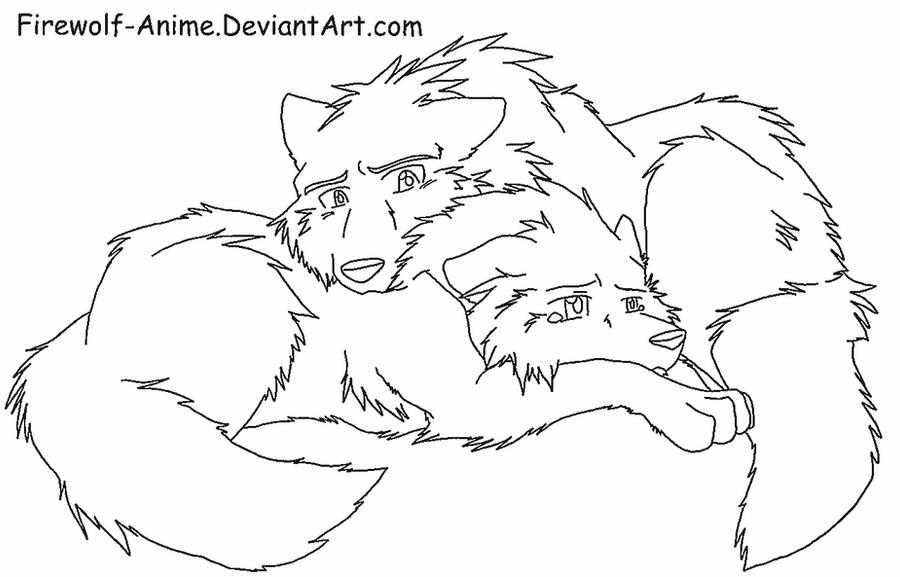 Wolf Comfort - LineArt by Firewolf-Anime on DeviantArt