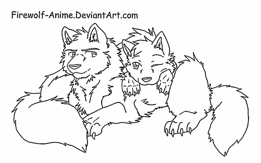 wolf cuddle line art by firewolf anime - Anime Wolf Couples Coloring Pages