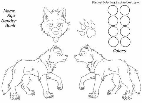 Wolf Reference Sheet Line Art