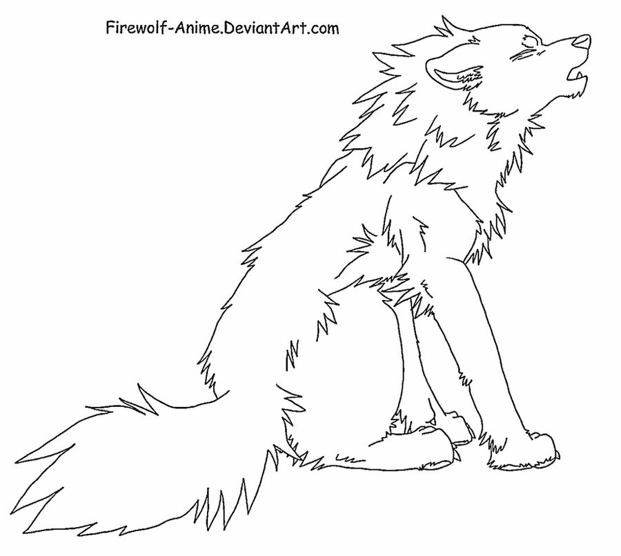 Howling Wolf Line Art By Firewolf Anime On Deviantart