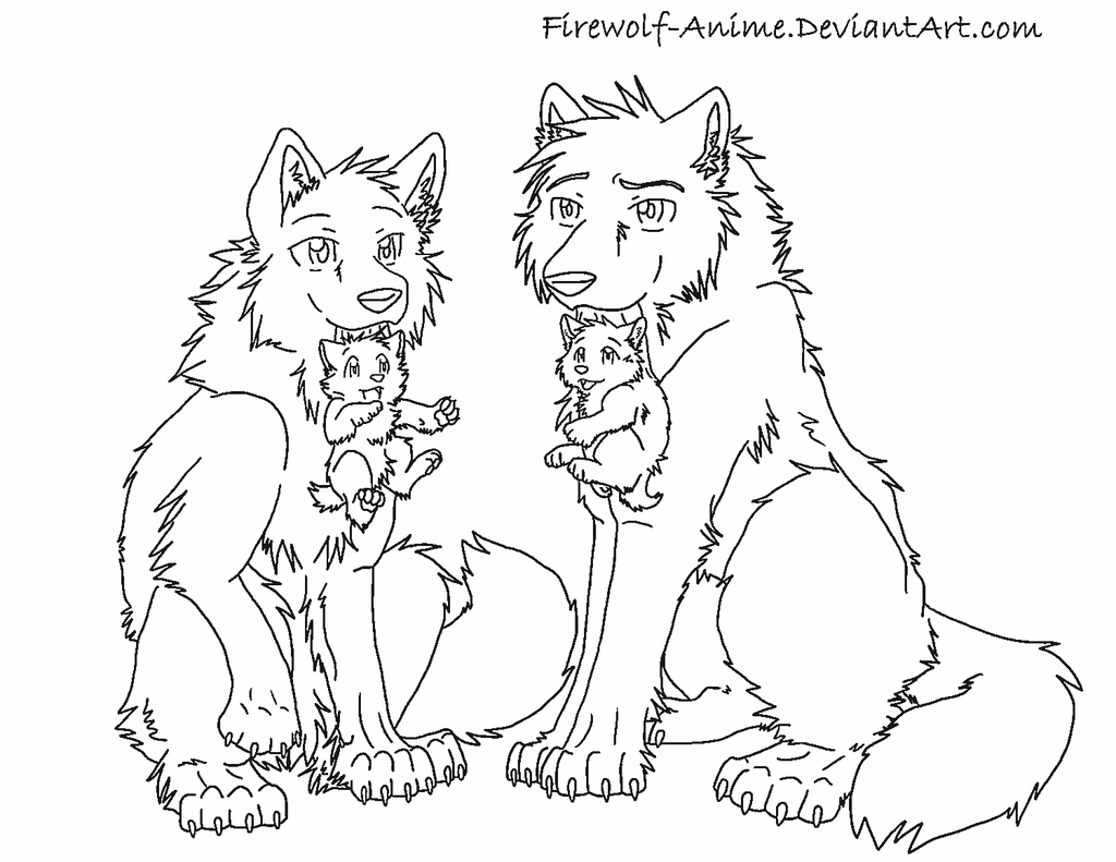 Wolves and puppies by firewolf anime on deviantart for Timberwolves coloring pages