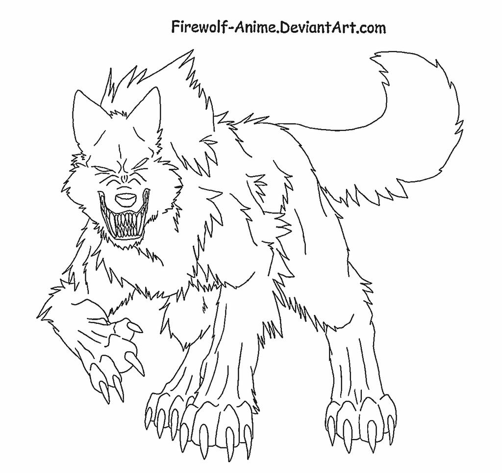 furious wolf lineart by firewolf anime on deviantart