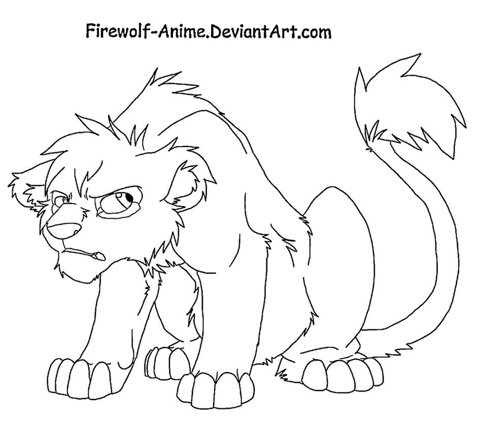 Grumpy Lion Cub By Firewolf Anime