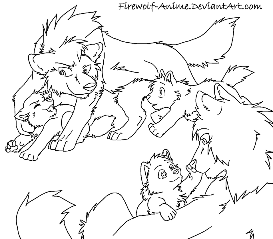 Small Wolf Family Line Art By Firewolf Anime