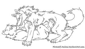 Sexy Wolf Pin Line Art by Firewolf-Anime