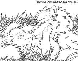 WolfLOVELineArt by Firewolf-Anime
