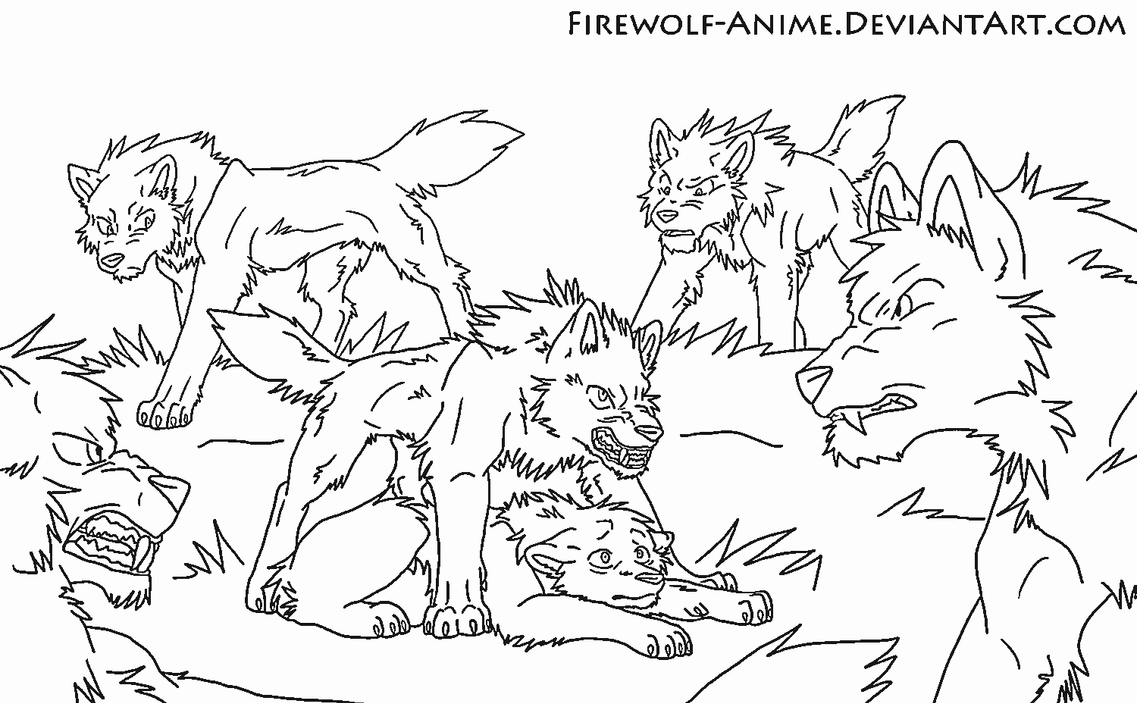 Protection from the pack lineart by firewolf anime on for Save the cat template