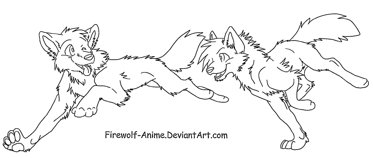 Wolf Run LineArt by Firewolf-Anime