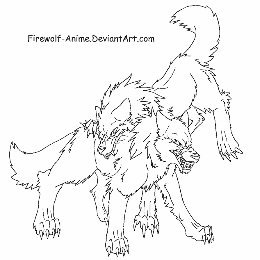 Simple Wolf Lineart : Wolf fight lineart by firewolf anime on deviantart