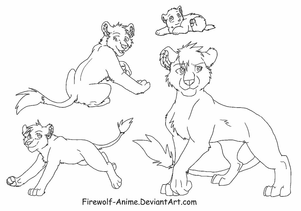 Lioness Line Art by Firewolf-Anime