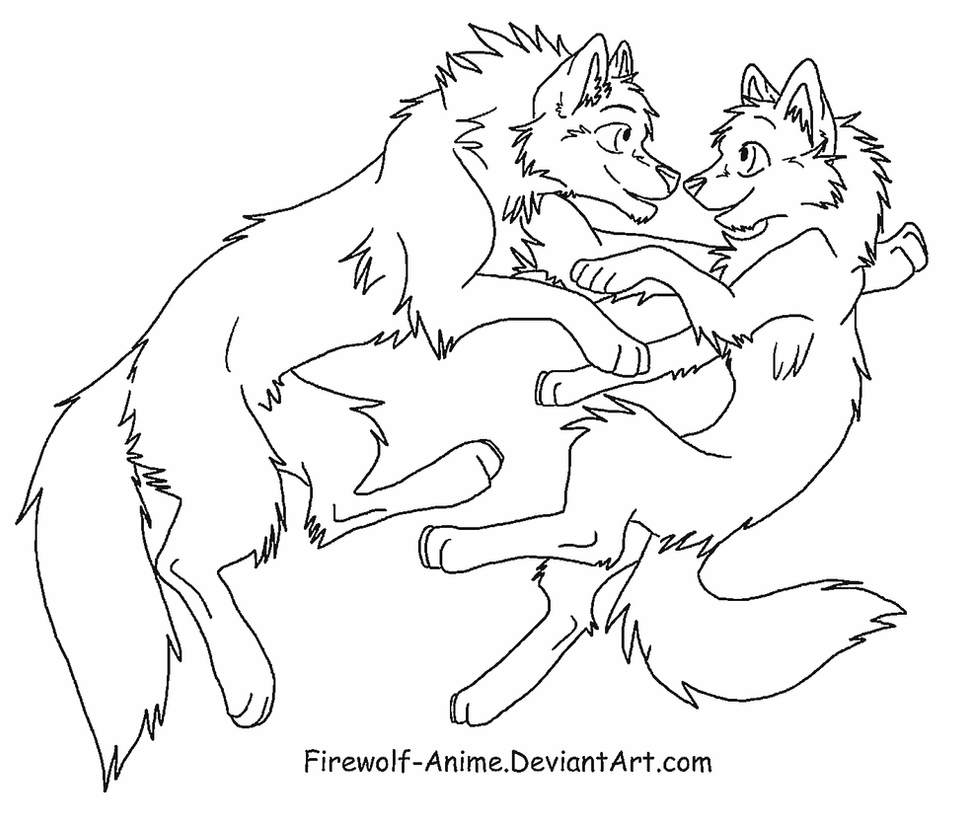 wolf float lineart by firewolf anime - Anime Wolf Couples Coloring Pages