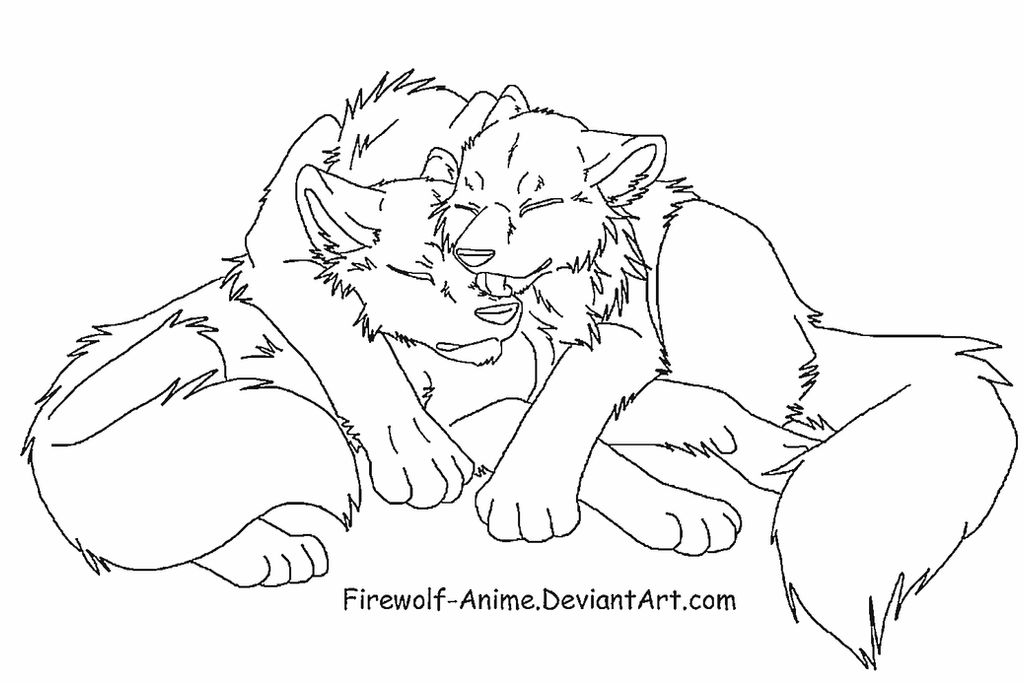 Sleepy Cuddle LineArt by Firewolf-Anime