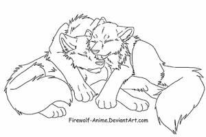 Sleepy Cuddle LineArt by Firewolf-Anime
