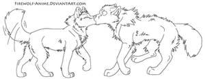 Wolf Kiss LineArt by Firewolf-Anime