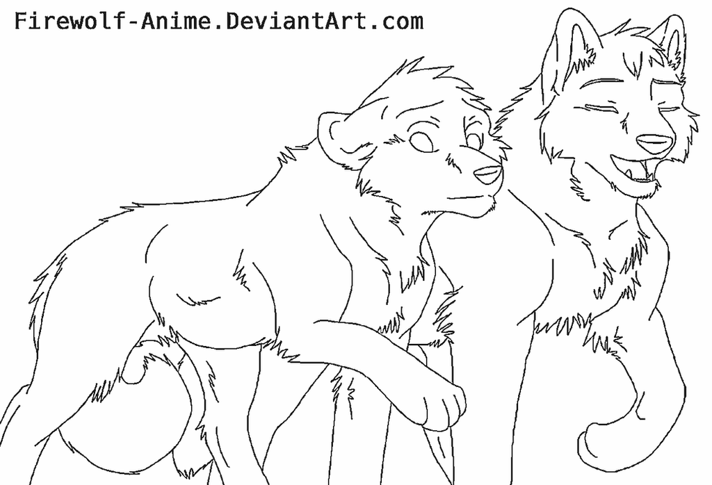 Line Art Love : Printable coloring pages of wolves firewolf anime