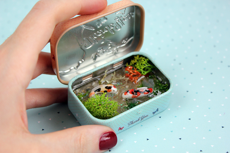 Cute Koi Fish Pond in a Tin by AdasAtelier