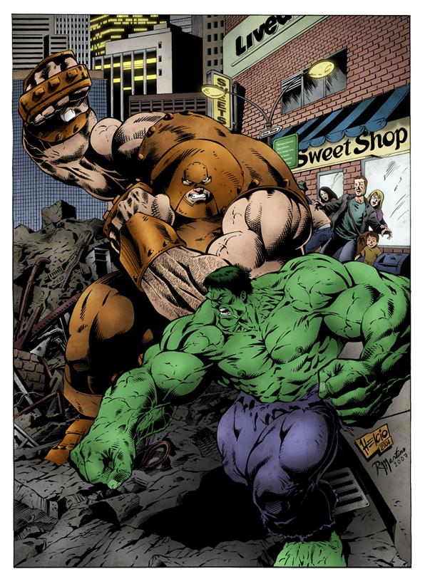 Hulk vs Juggernaut by palantir6