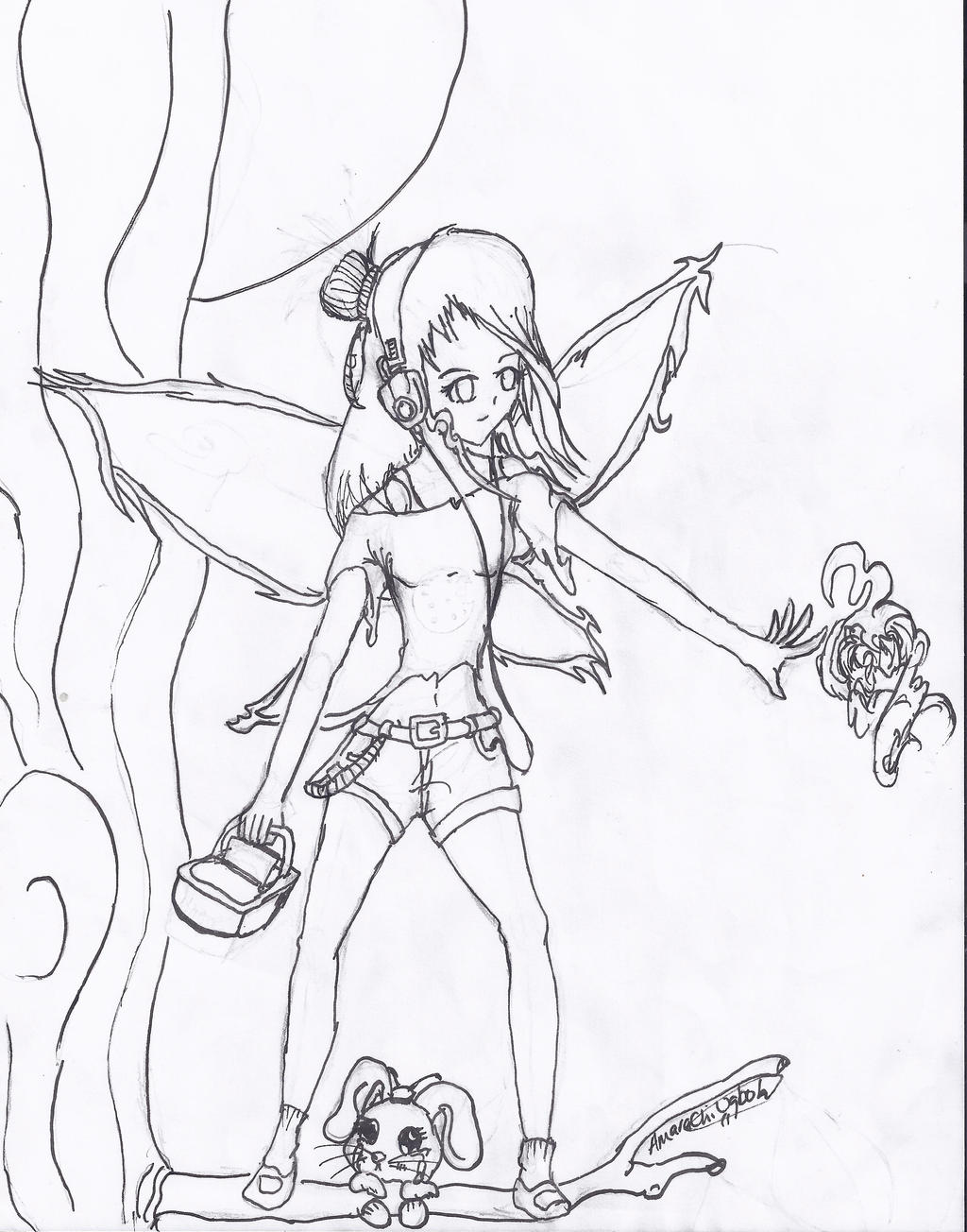 Coloring Page: Fairy w/ Chibi bunny by Heartfelt23 on ...