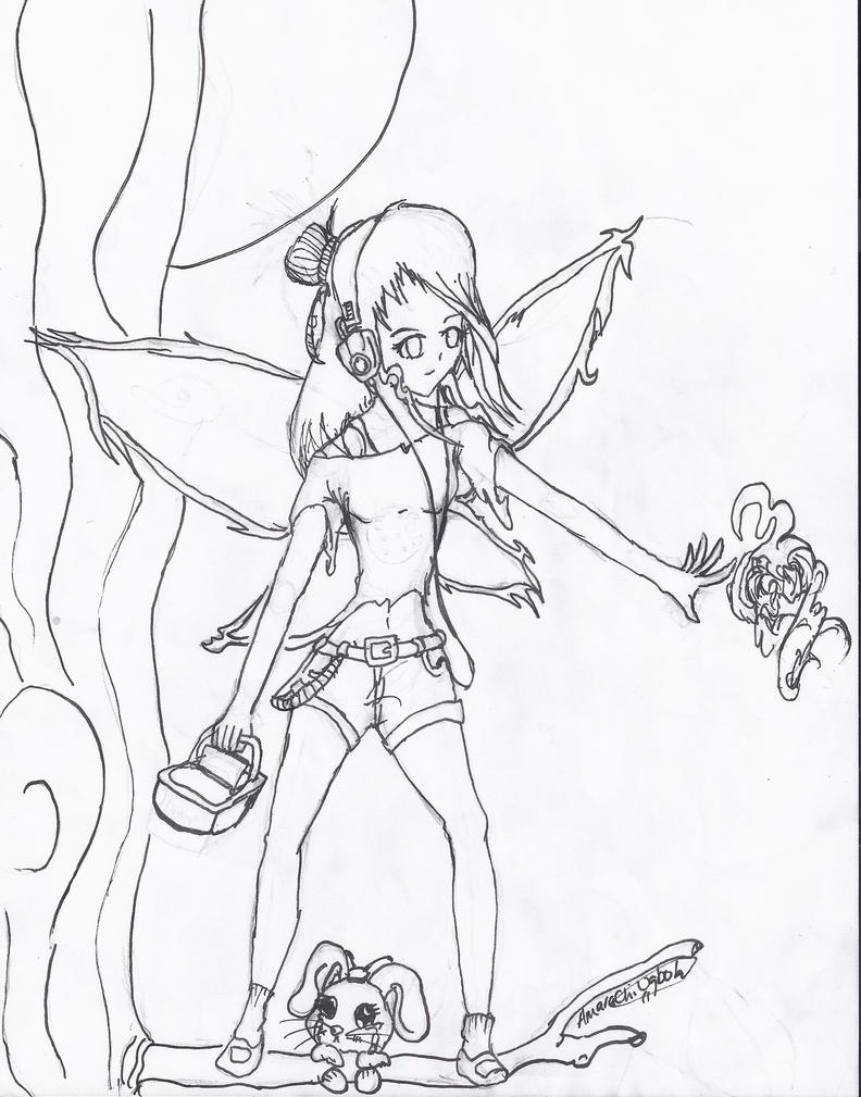 anime fairy coloring pages - coloring page fairy w chibi bunny by heartfelt23 on