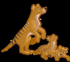 Thylacine mama and pups by bashfulbutterfly