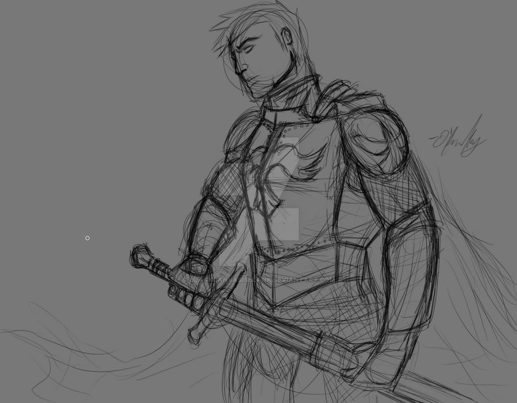 Knight (Sketch) by BlankCanvasIsBlank