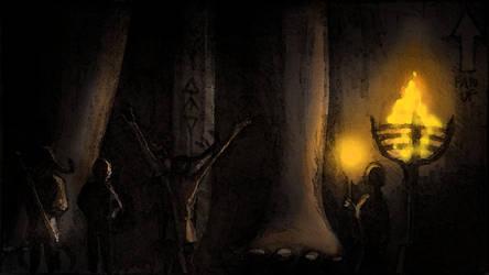 The Hunters statue (Huntersmoon Storyboard) by CareldeWinter