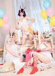 Ibaraki, Shuten, Tomoe white lingerie