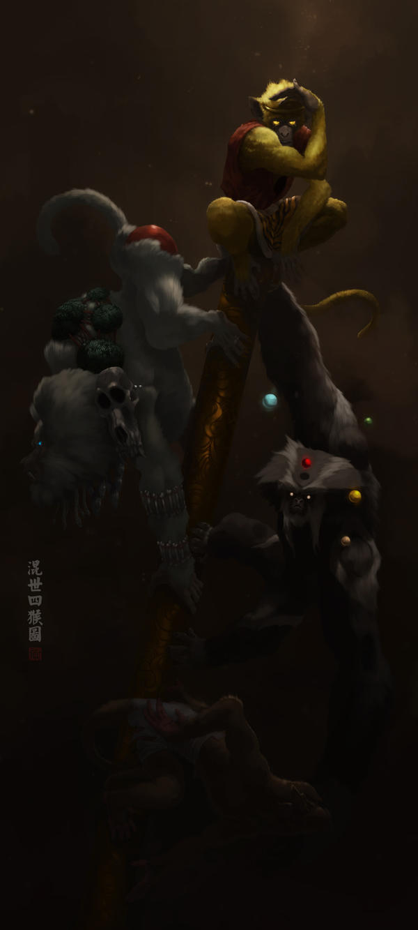 4 monkey by LooAwesome